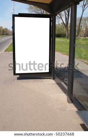 city light on the bus stop - stock photo