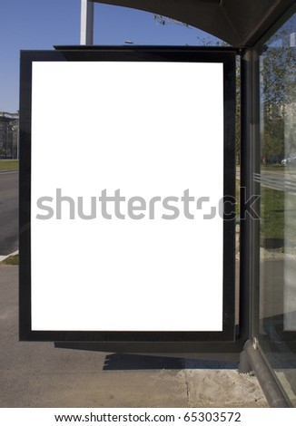 city light on the bus stop, blank space for your ad - stock photo