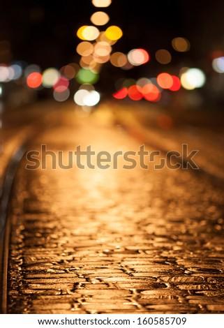 city lights at night  - stock photo