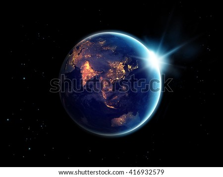 City lights at night in planet earth with sun rising, Elements of this image furnished by NASA  - stock photo