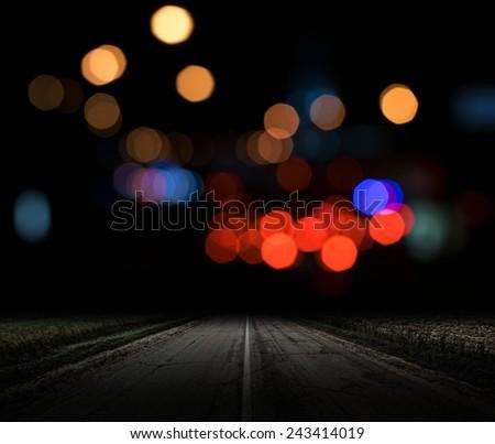 City lights bokeh. Night background - stock photo