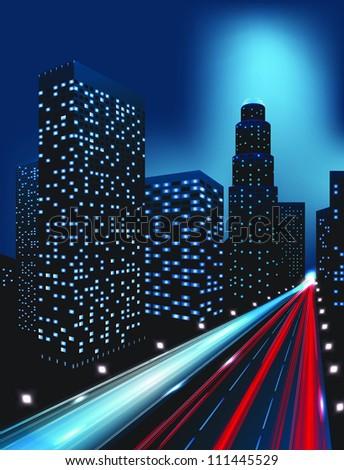 city lights (buildings) - stock photo