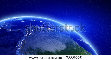 City lights - Central and South America. Elements of this image furnished by NASA - stock photo