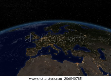 "City lights Europe ""Elements of this image furnished by NASA "" - stock photo"