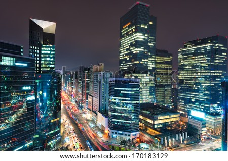 City lights in the Gangnam district of Seoul, South Korea. - stock photo