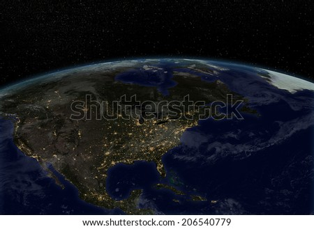 """City lights North America  """"Elements of this image furnished by NASA """" - stock photo"""