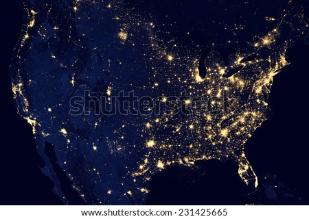 City lights Of USA,Elements of this image are furnished by NASA - stock photo
