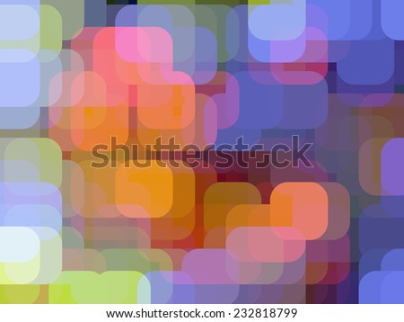 City lights on a tropical evening: Multicolored abstract of rounded squares overlapping for illusion of three dimensions - stock photo
