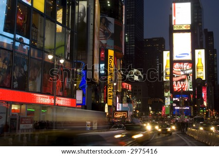 City lights on Times Square in New York city - stock photo