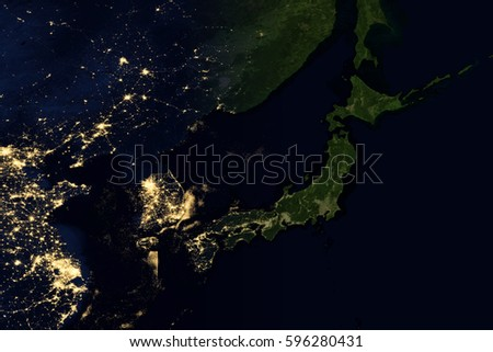 Earth space night asia australia elements imagen de archivo stock city lights on world map japan elements of this image are furnished by nasa gumiabroncs Image collections
