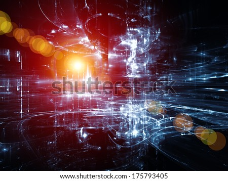 City Lights series. Abstract arrangement of technological fractal textures suitable as background for projects on science, technology, design and imagination - stock photo