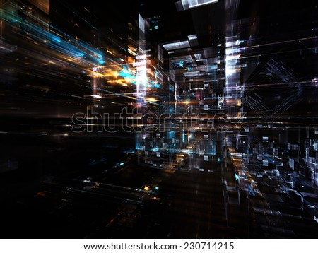City Lights series. Artistic abstraction composed of technological fractal textures on the subject of science, technology, design and imagination - stock photo
