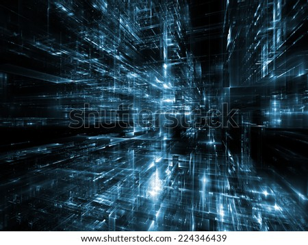 City Lights series. Backdrop design of technological fractal textures to provide supporting composition for works on science, technology, design and imagination - stock photo