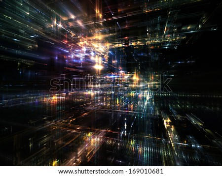 City Lights series. Background design of technological fractal textures on the subject of science, technology, design and imagination