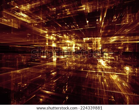City Lights series. Composition of technological fractal textures on the subject of science, technology, design and imagination - stock photo