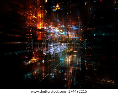 City Lights series. Composition of technological fractal textures suitable as a backdrop for the projects on science, technology, design and imagination - stock photo
