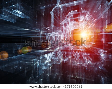 City Lights series. Composition of  technological fractal textures to serve as a supporting backdrop for projects on science, technology, design and imagination - stock photo
