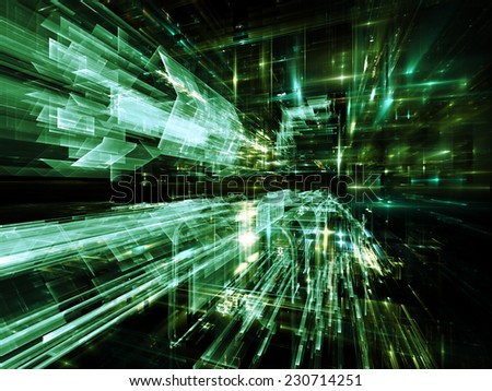 City Lights series. Composition of technological fractal textures with metaphorical relationship to science, technology, design and imagination - stock photo