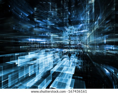 City Lights series. Visually attractive backdrop made of technological fractal textures suitable as element for layouts on science, technology, design and imagination - stock photo