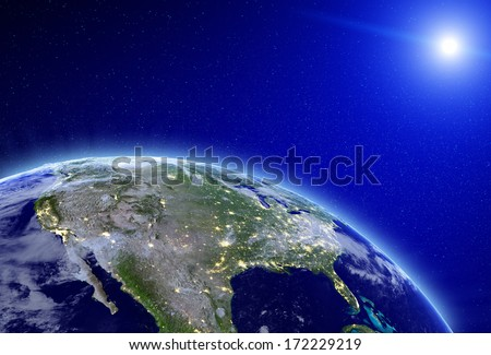 City lights - USA. Elements of this image furnished by NASA - stock photo