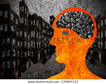 city man with asphalt brain - stock photo