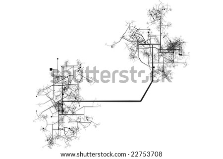 City Map Blueprint Abstract of a City in a White Background - stock photo
