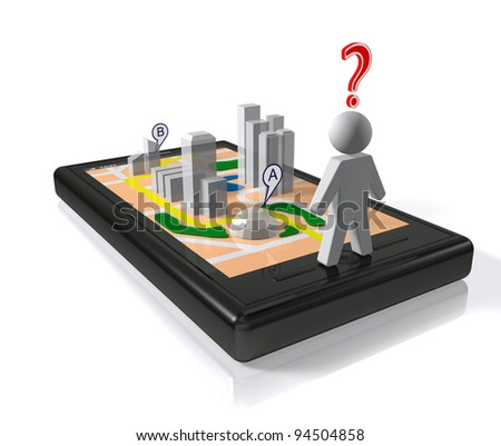 City map in smart-phone - stock photo