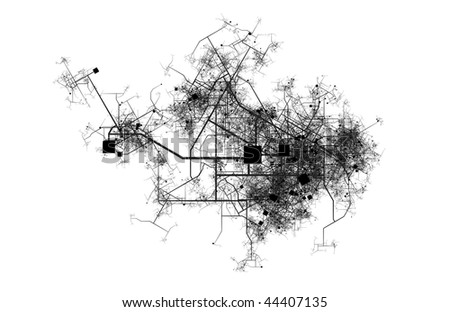 City Map of a Fictional Town Roads and Streets - stock photo