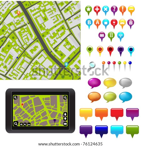 City Map With GPS Icons - stock photo
