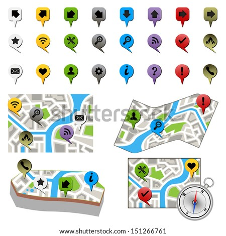 city map with labels. bitmap  - stock photo