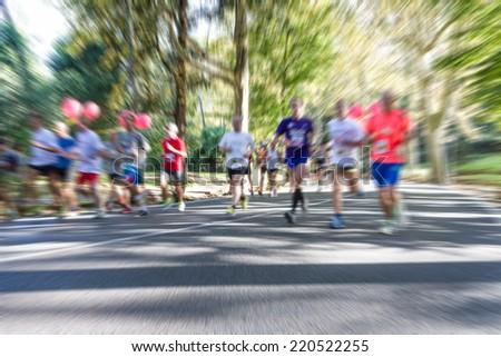 City Marathon runners  - stock photo