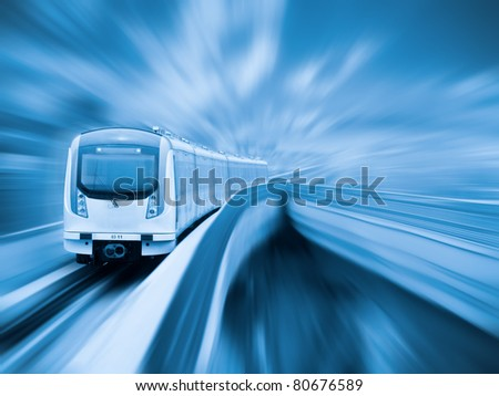 city metro with motion blur - stock photo
