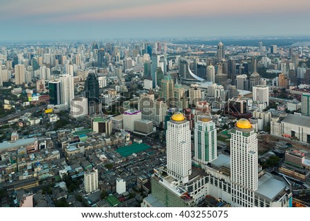 City midtown aerial view business district of Bangkok Thailand - stock photo