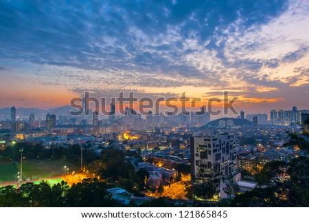 City midtown skyline at dark - stock photo