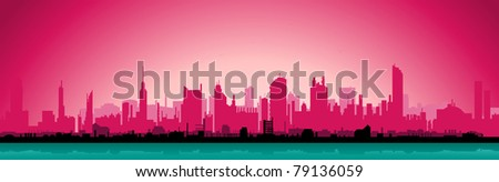 City Morning Landscape/ Illustration of beautiful horizontal urban landscape in the morning