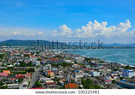 city near sea in south of Thailand