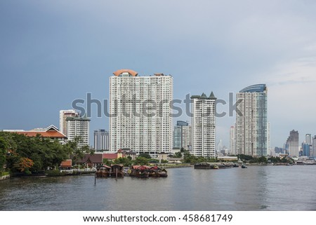City near the river in the bangkok, Thailand