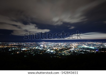 City night from the view point on top of mountain - stock photo