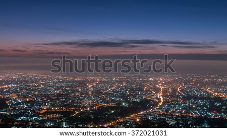 City night from the view point on top of mountain before sunrise, Chiangmai ,Thailand - stock photo