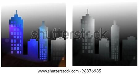 City night illustration - stock photo