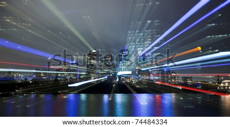 city night lights blur movement lines neon in modern abstract style as part of cityscape - stock photo