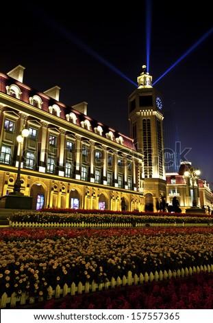 City night scene - stock photo