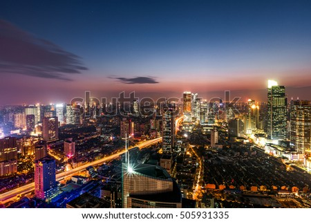 city night view,elevated view of shanghai JingAn district at sunset time
