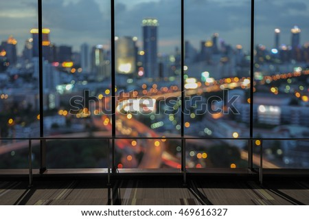 City Night View From The Office Window.
