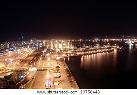 city night view of Durban harbor, South Africa - stock photo