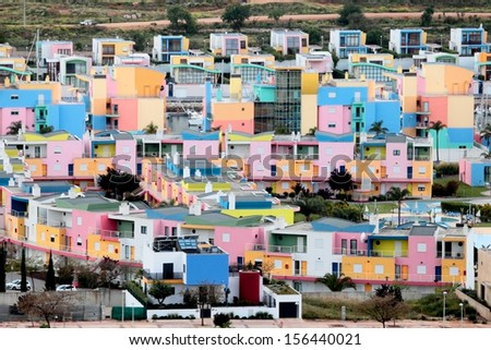 city of a lot of colorful houses