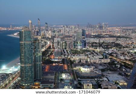 City of Abu Dhabi at dusk, United Arab Emirates - stock photo