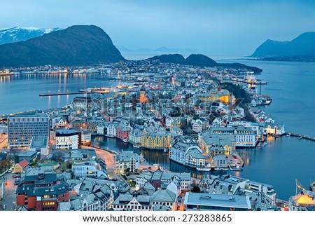 City of Alesund in Norway - stock photo