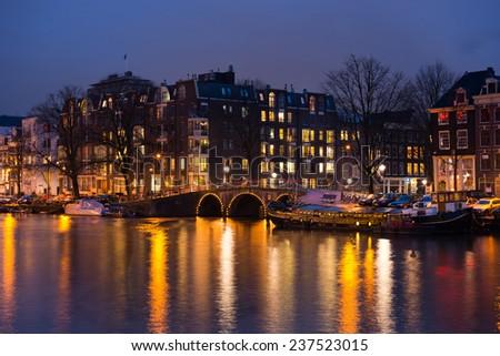 City of Amsterdam  by night , Netherlands - stock photo