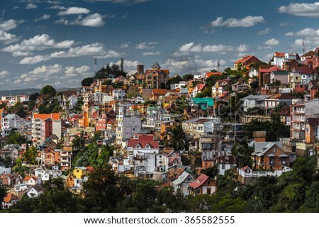 City of Antananarivo at sunny day. Madagascar - stock photo
